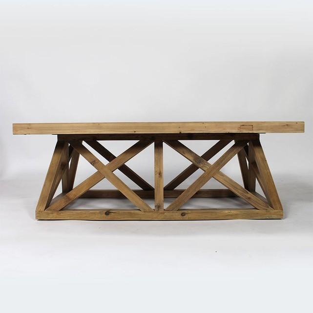 Table Basse Bois Massif Avec Pieds Style Croisillons Made In Meubles